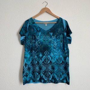 Great blue pattern tee shirt sleeve 1X